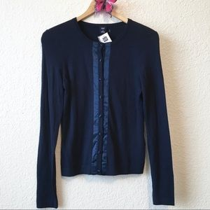 NWT J. Crew • navy sweater with satin trim